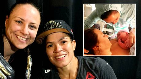 'Officially the mom champ champ': UFC star Nunes becomes first champion mother as MMA girlfriend Ansaroff gives birth to daughter
