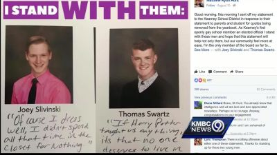 School district removes gay students' quotes from yearbook
