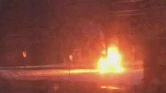 Vehicle strikes plow truck in New Hampshire, bursts into flames