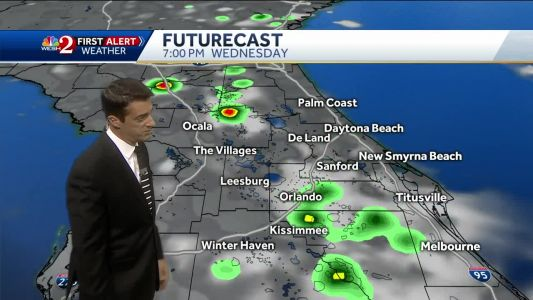 Showers move inland Wednesday afternoon