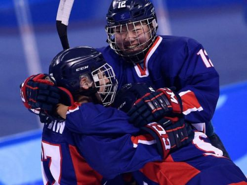 Combined Koreas come together to score historic women's hockey goal against common foe