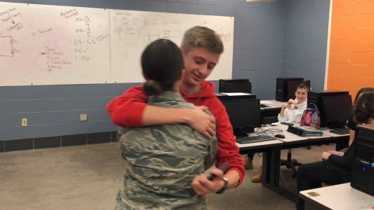 Home for Thanksgiving, airman surprises her brother at New Castle High School with early holiday visit