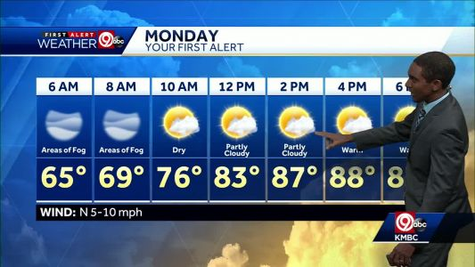 Areas of fog possible Monday morning