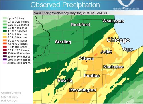 24-hour rainfall across the Chicago area - widespread 2-inch+ totals