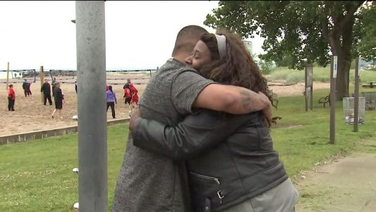 Family reunites with man who helped save teen adrift on lake