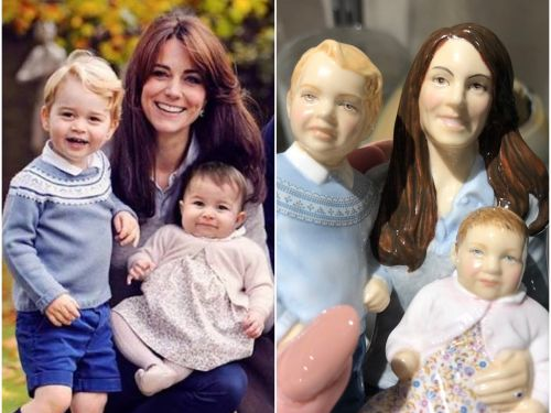 The British version of TJ Maxx is selling a $75 statue of Kate Middleton, Prince George, and Princess Charlotte - and it's absolutely terrifying