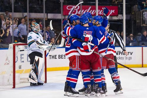 Quinn gets first win, Rangers beat Sharks in overtime 3-2