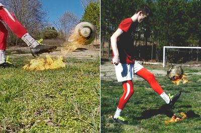 This kid juggles a soccer ball engulfed in flames