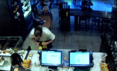 Wild video: Starbucks customer fights off armed robber with metal chair