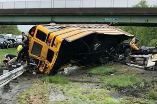 School bus and truck collide on New Jersey highway