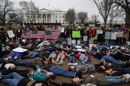 Teens Hold Die-In For Gun Control Outside White House
