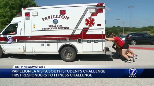 Papillion La Vista South students challenge first responders to fitness challenge