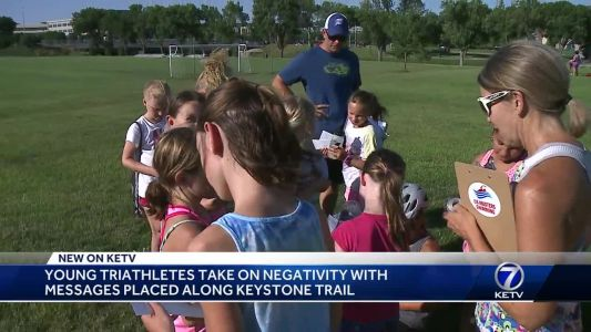 Young triathletes take on negativity with messages placed along Keystone Trail