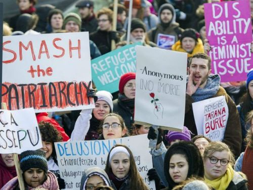Global women's march reignites on Trump inauguration anniversary to protest against policies and support MeToo