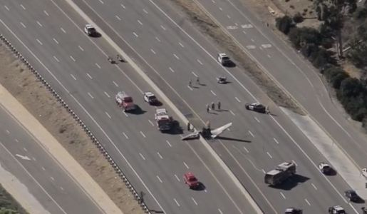 Nobody hurt in plane crash on LA-area freeway