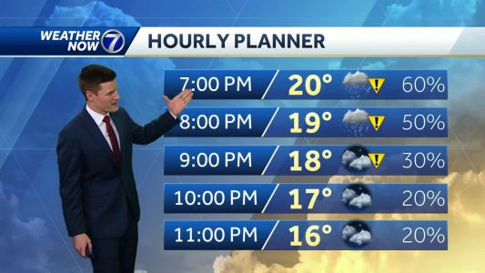 More freezing drizzle Friday evening, cold moving in for the weekend