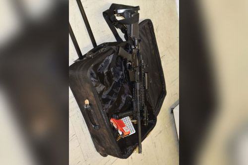 Cops nab man rolling luggage around with loaded rifle sticking out