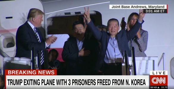 BACK HOME: Trump greets 3 Americans freed from North Korea