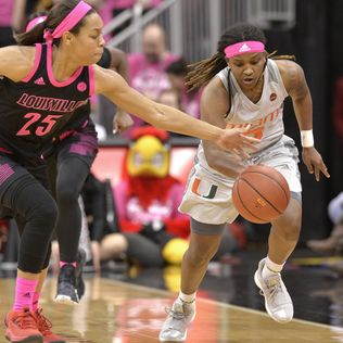 No. 20 Miami women rally to beat No. 2 Louisville 79-73