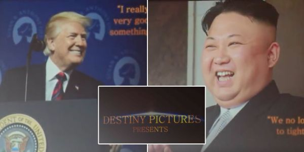 A California film company is frantically distancing itself from the North Korea peace video Trump showed to Kim Jong Un