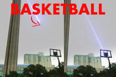 This basketball makes an impossible turn in midair for this trick shot