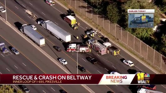 2 people injured in multivehicle crash on I-695 in Pikesville