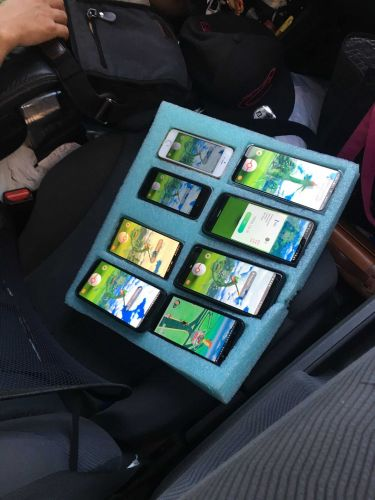 Trooper catches motorist on side of road playing Pokémon Go on 8 phones at once
