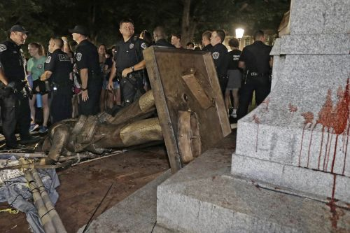 Protesters topple Confederate statue in North Carolina
