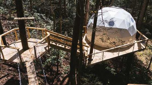 You can stay at a treehouse village made of domes at Red River Gorge