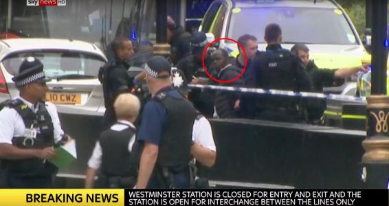 Video shows a man being detained after the car crash at the UK Houses of Parliament