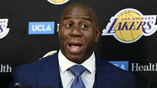 Magic Johnson takes four tweets to congratulate Rob Pelinka for Anthony Davis trade