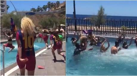 Pool party: Barca women take plunge after winning title with ASTONISHING points & goals tally as Chelsea loom in UCL final