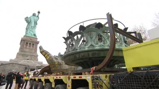 Statue of Liberty's original torch moved