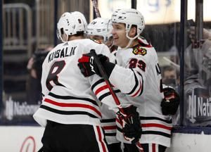 Brandon Hagel's overtime goal gives the Chicago Blackhawks a 4-3 win over the Columbus Blue Jackets