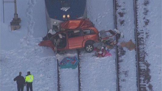 Car vs. Amtrak train in Brookfield