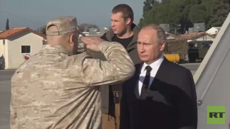 Watch Putin visit Russian troops at Syria's Khmeimim Airbase