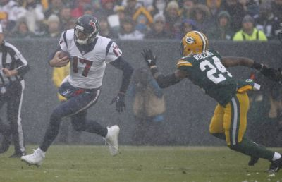 The Latest: Packers' Randall Cobb having fun in the snow