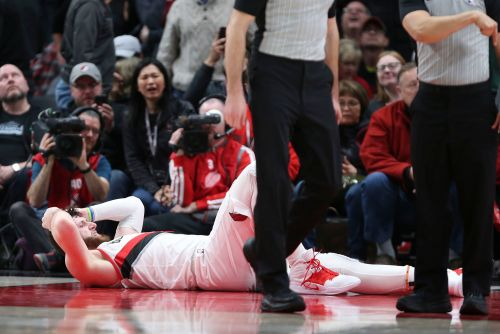 Blazers center suffers gruesome leg injury Nets can't bare to watch