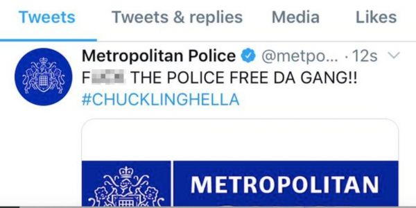 'F-- THE POLICE FREE DA GANG!!': Hackers broke into the London police's Twitter account and posted a series of strange and offensive messages