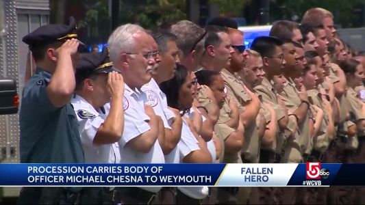 Fallen officer remembered during procession from Boston to Weymouth
