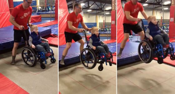 Video of 4-year-old in wheelchair bouncing on trampoline goes viral