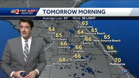Temps in the 60s Saturday morning