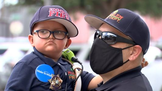 A boy battling a brain tumor made a wish to be a firefighter. Instead, he became fire chief