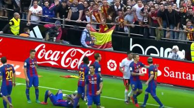Barcelona players hit with missile by rival fans in La Liga win
