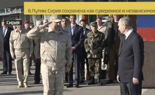 Russia's Putin makes stop at Russian military base in Syria