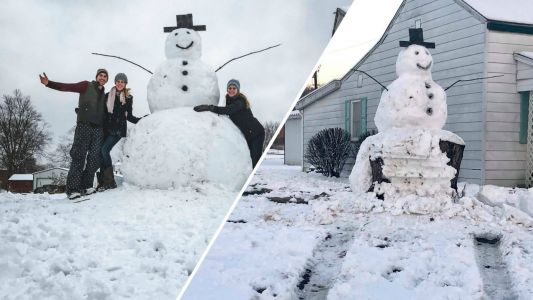 'Frosty had the last laugh': Vandal tries to run over giant snowman, hits tree stump instead